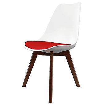 Fusion Living Eiffel Inspiré Blanc et Rouge Dining Chair with Squared Dark Wood Legs
