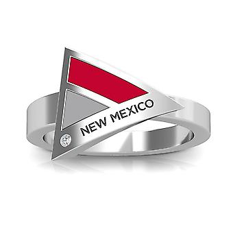 University of New Mexico kaiverrettu Sterling Silver Diamond geometrinen rengas punainen ja harmaa