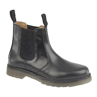 Grafters Mens liso couro Plain boot Chelsea