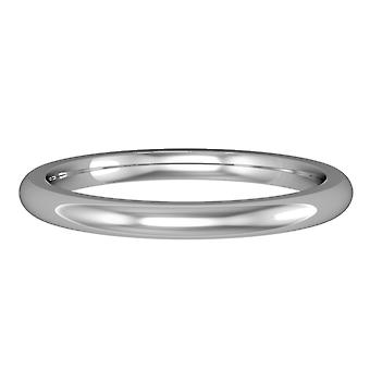 Jewelco Λονδίνο 18Κ λευκό χρυσό 2 mm Premium δικαστήριο σχήματος γάμο συγκρότημα δαχτυλίδι δέσμευσης