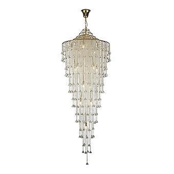 Diyas Inina lång hänge 15 ljus E14 franskt guld/kristall