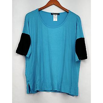 aDRESSing Woman Top Knit Colorblocked Sleeve Aqua Blue Womens A409565