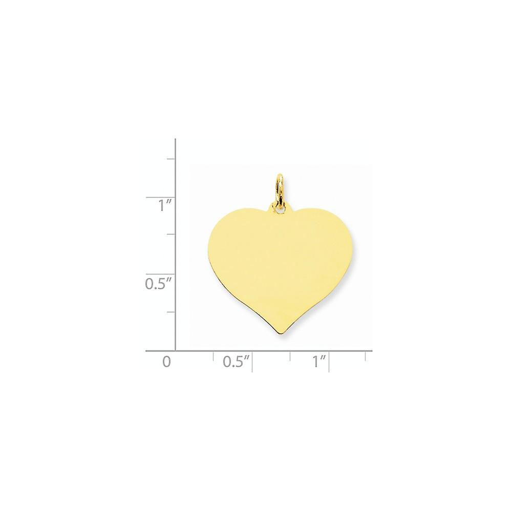 14k Yellow Gold Solid Polished Engravable Plain .011 Gauge Engraveable Love Heart Disc Charm Pendant Necklace Jewelry Gi