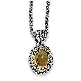 925 Sterling Silver With 14k Citrine Necklace Jewelry Gifts for Women - 3.45 cwt