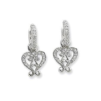 925 Sterling Silver Hinged CZ Cubic Zirconia Simulated Diamond Love Heart Charm Earrings Measures 25x12mm Jewelry Gifts