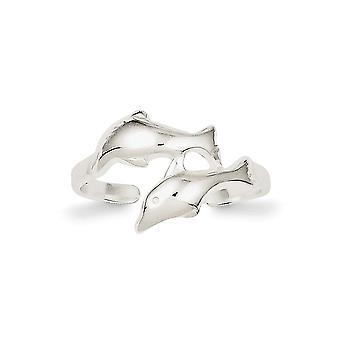 925 Sterling Silver Solid polerad Platt tillbaka Dolphin Toe Ring Smycken Gåvor för kvinnor