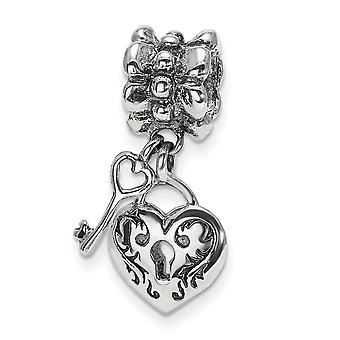 925 Sterling Silver Polished finish Reflections Love Heart and Key Dangle Bead Charm Pendant Necklace Jewelry Gifts for