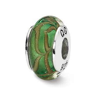 925 Sterling Silver Polished finish Reflections Lt. Green Tan Swirl Hand blown Glass Bead Charm Pendant Necklace Jewelry