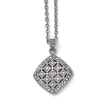 Stainless Steel Fancy Lobster Closure Polished Clear and Pink CZ Cubic Zirconia Simulated Diamond Square Necklace 18 Inc
