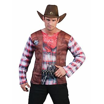 Cowboy Men's Costume Sheriff Wild West Shirt Costume Homme