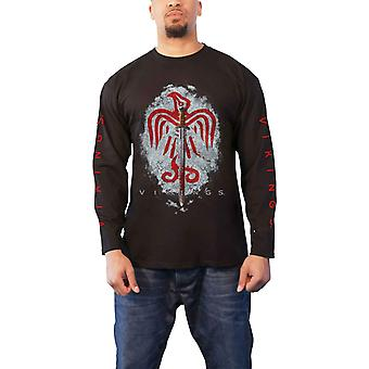 Vikings T Shirt Raven Sword Logo TV Show new Official Mens Black Long Sleeve