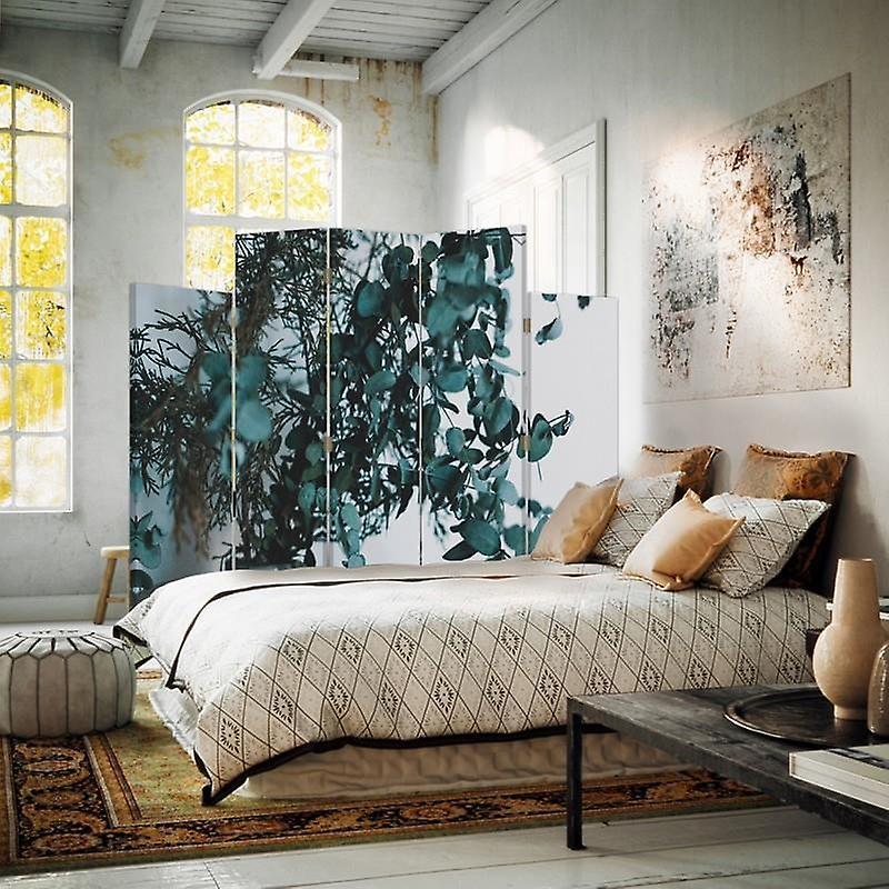Diviseur de pièce décorative, 5 panneaux, double-sided, toile, usines dans un vase 2