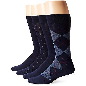 ドッカーズメン&アポス;s 4パックアーガイルドレス、ネイビー、シューサイズ:6-12(靴下、ネイビー、サイズ6.0