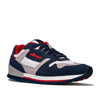 Mens Ellesse 147 Suede Trainers In Navy White Grey