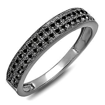 Dazzlingrock Kollektion 0,33 Karat (ctw) schwarz Rhodium vergoldet 10K schwarz Diamant Hochzeitsband 1/3 CT, Weißgold