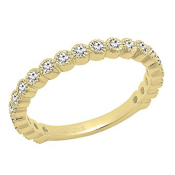 Dazzlingrock Collection 0.50 Carat (ctw) 14K Round White Diamond Wedding Eternity Band 1/2 CT, Yellow Gold