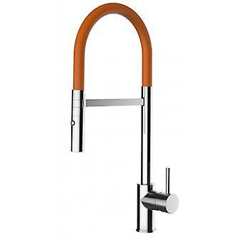 Mezclador de fregadero de cocina de una sola palanca con spout naranja y ducha de 2 chorros - 193
