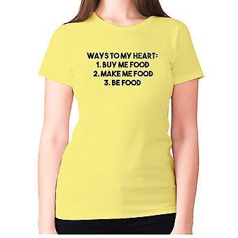 Womens rolig foodie t-shirt slogan tee Ladies äta-sätt till mitt hjärta 1 Köp mig mat 2. Gör mig mat 3. Vara mat