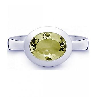 QUINN-ring-kvinder-sølv 925-ædelsten-Lemonquartz-bredde 56-21402648