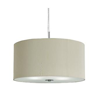 Drum Pleat Pendant - 3 Light Pleated Shade Pendant, Cream With Frosted Glass Diffuser Dia 60cm