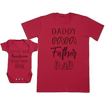 男婴 & 爸爸 语言 婴儿 礼物 集 男士 T 恤 & 婴儿 体衣