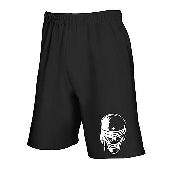 Black tracksuit shorts fun3517 skull