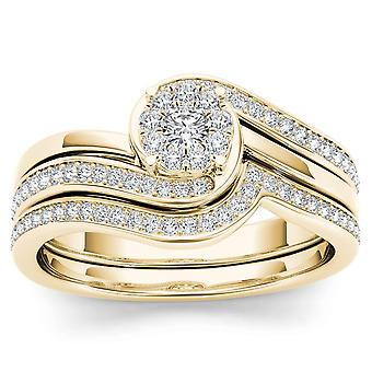IGI Certified 10k YELLOW Gold 0.50 Ct Natural Diamond Halo Engagement Ring Set