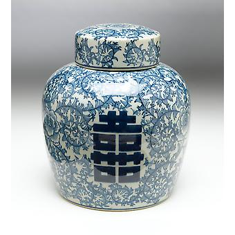 AA Importing 59747 12 Inch Blue & White Ginger Jar