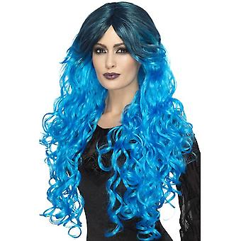 Gothic Glamour Wig, Electric Blue, with Dark Roots