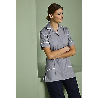 SIMON JERSEY Essentials Women's Healthcare Tunic, Hospital Grey With White Trim