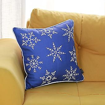 "18""x18"" Christmas Snow Flakes Printed Decorative Throw Pillow Cover"