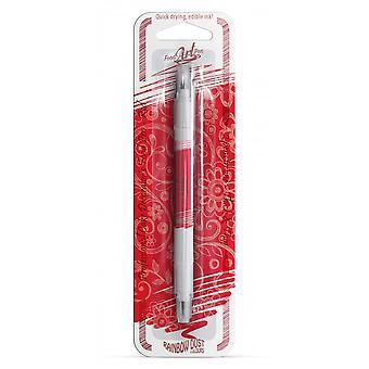 Regenboog stof dubbelzijdige voedsel pennen eetbare voedsel pen rood