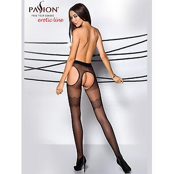 Passion Strip Panty Mock Garter Tights