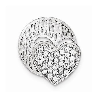 925 Sterling Argent Poli et Brushed Disc With CZ Cubic Zirconia Simulated Diamond Love Heart Slide Jewelry Gifts fo