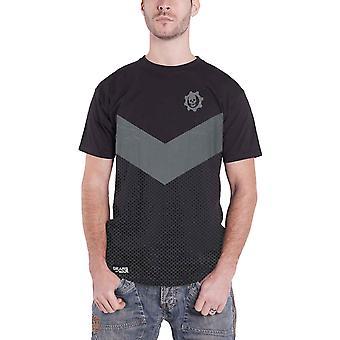 Gears Of War T Shirt Tonale Colorblock Logo nieuwe officiële Gamer Mens Zwart