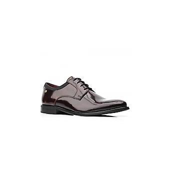 Base London Bordo Leather Nero Hi Shine Lace Up Shoes