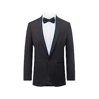 Dobell Mens Bronze Shimmer Kurtka Smoking Regular Fit Contrast Peak Lapel