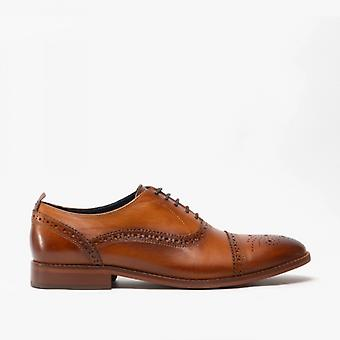 Base London Cast Mens Leather Brogue Chaussures Tan