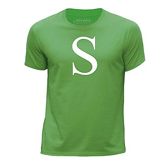 STUFF4 Boy's Round Neck T-Shirt/Alphabet Letter Initial S/Green