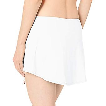 Anne Cole Women's Solid Adjustable Sarong Skirted Swim, White, Size Medium