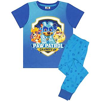 Paw Patrol Pyjamas For Boys | Mighty Pups Chase Kids T-Shirt & Long Blue Trousers PJs Set | Children's Paw Patrol Clothes Gifts