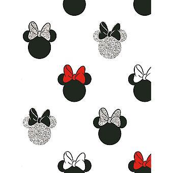 Disney Minnie Mouse Glitter Wallpaper White Graham & Brown 105828