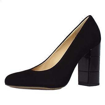 Högl 2-10 9702 Eaton Trendy Block Heel Court Shoes In Black Suede