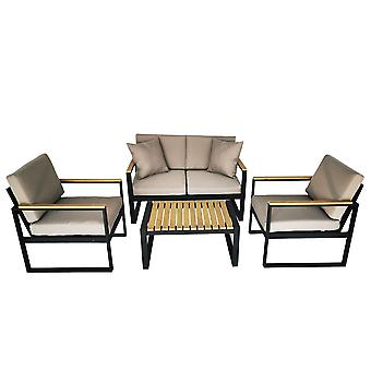 Charles Bentley Black Square Legs Strong Extrusion Aluminium Lounge Set avec 10cm Thick Cushion Polyester Industrial Style