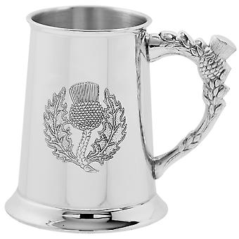 Scottish Thistle relief Pewter Tankard cu Thistle mâner-1 halbă