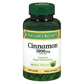 Nature's bounty cinnamon, 1000 mg, capsules, 100 ea