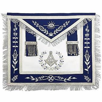 Masonic blå lodge mester murer sølv maskine broderi frimurerne forklæde