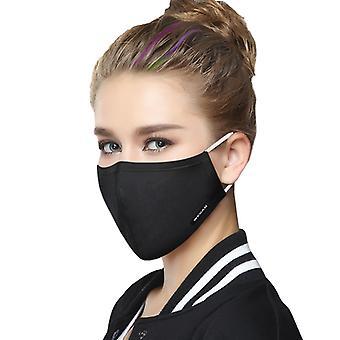 القطن أزياء قناع الوجه مع حلقات الأذن - أسود قابل للغسل