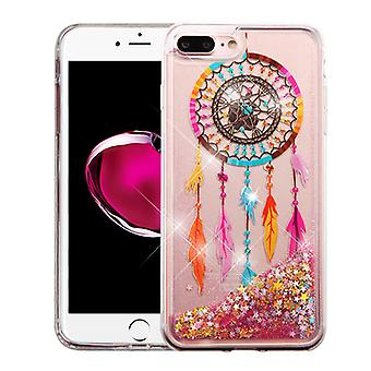 ASMYNA Glitter Hybrid Case for iPhone 8/7 Plus - Dreamcatcher & Gold Stars Quicksand