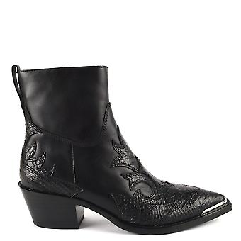 Ash DJANGO Boots Black Python Effect Leather